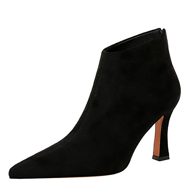 Women's Boots Stiletto Heel Pointed Toe Satin Booties / Ankle Boots Spring &  Fall Black