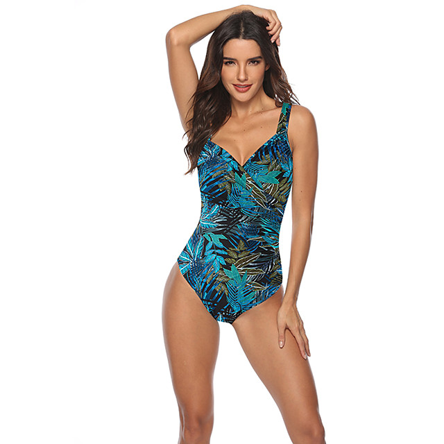 Women's One Piece Swimsuit Padded Swimwear Swimwear Green Blue Brown Breathable Quick Dry Comfortable Sleeveless - Swimming Water Sports Summer / High Elasticity