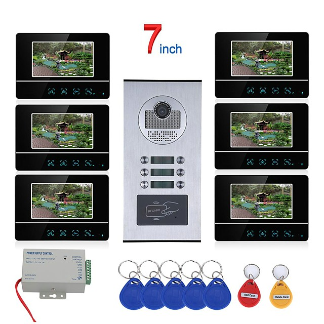 MOUNTAINONE SY811BHIDP6 WIFI / Wired & Wireless 7 inch Touch Button 6 Apartment/Family Video Door Phone Intercom System RFID 1000TVL  Doorbell Camera