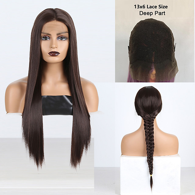 Synthetic Lace Front Wig Silky Straight Middle Part Lace Front Wig Long Chestnut Brown Synthetic Hair 18-26 inch Women's Cosplay Silky Heat Resistant Brown
