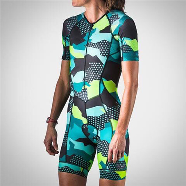21Grams Women's Short Sleeve Triathlon Tri Suit Spandex Green Camo / Camouflage Bike UV Resistant Quick Dry Breathable Sports Camo / Camouflage Mountain Bike MTB Road Bike Cycling Clothing Apparel