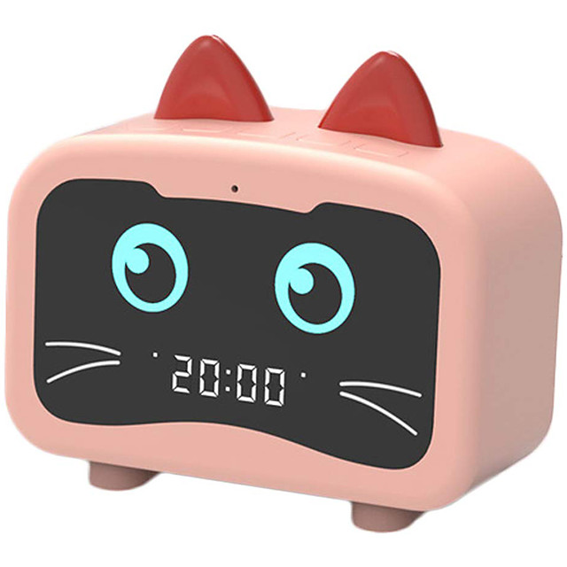 HOT Alarm Clock Radio with Bluetooth Cat Ears Speaker Digital FM Radio Hands Free HD Call USB Charging Port for Heavy Sleeper