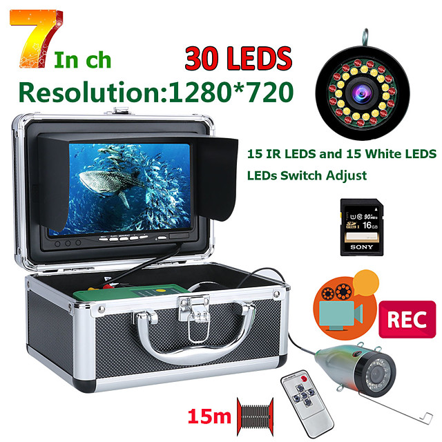 F7AD-2L-15M DVR Fish Finder Underwater Fishing Camera HD 1280*720 Screen15pcs White LEDs15pcs Infrared Lamp 1080P 15m Camera For Fishing 16GB Recoding