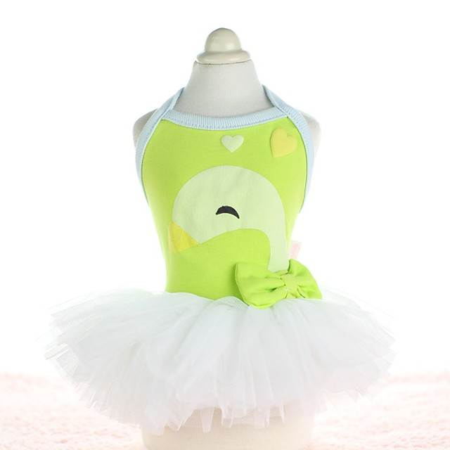 Dog Costume Dress Dog Clothes Breathable Yellow Green Blue Costume Beagle Bichon Frise Chihuahua Cotton Voiles & Sheers Animal Bowknot Casual / Sporty Cute XS S M L XL