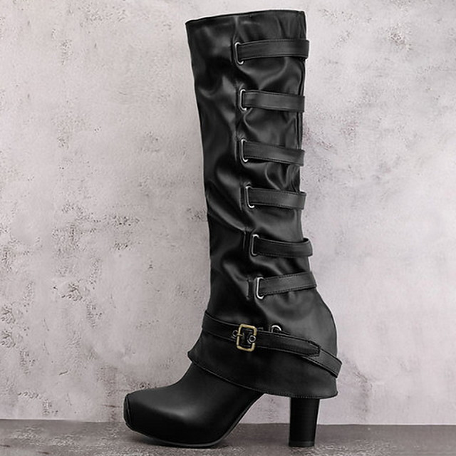 Women's Boots Chunky Heel Round Toe PU Mid-Calf Boots Fall & Winter Black / Army Green
