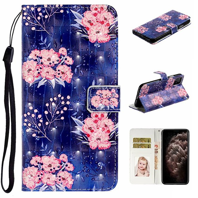 Case For Apple iPhone 11 / iPhone 11 Pro / iPhone 11 Pro Max Wallet / Card Holder / with Stand Full Body Cases Flower PU Leather For iPhone XS Max/XS/XR/X/8 Plus/7/6/6s Plus/5/5S/SE