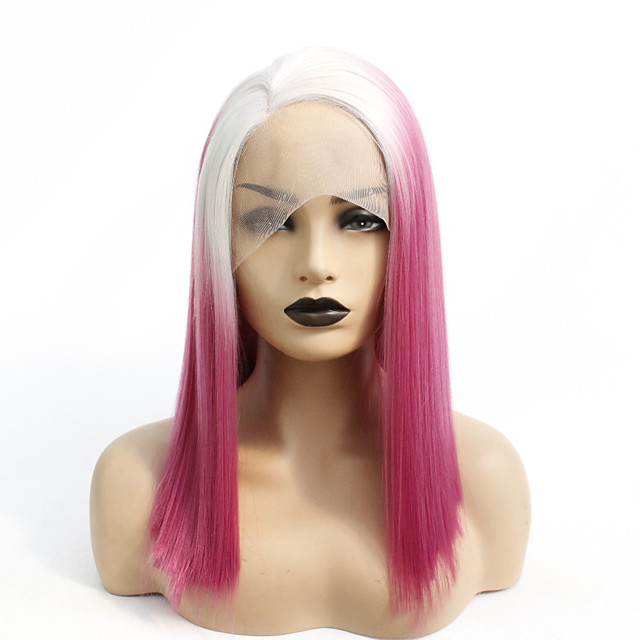Synthetic Lace Front Wig Straight Gaga Middle Part Lace Front Wig Ombre Medium Length Ombre Red Synthetic Hair 14-16 inch Women's Heat Resistant Women Hot Sale Red Ombre / Glueless