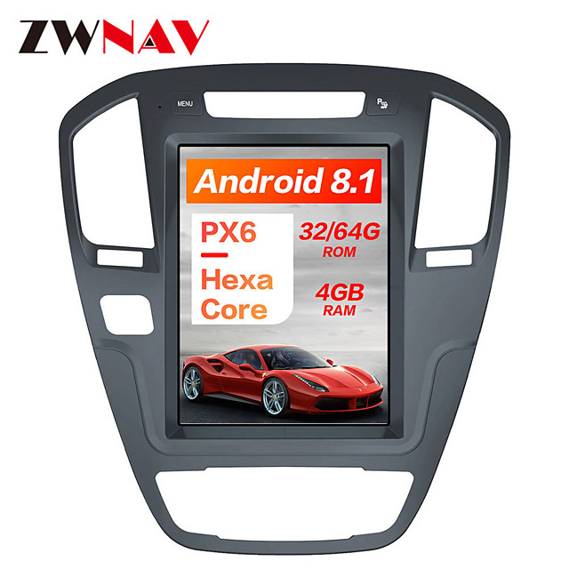ZWNAV 10.4 inch 1Din Android 8.1 Tesla style 4GB 64GB Car GPS Navigation radio tape recorder In-Dash Car DVD Player Car multimedia player For Buick Regal 2008-2013