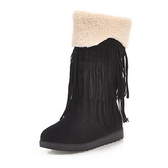 Women's Boots Flat Heel Round Toe Suede Mid-Calf Boots Winter Black / Brown / Beige