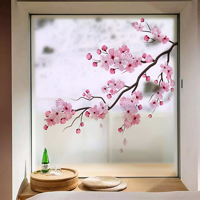 Peach Blossom Window Film & Stickers Decoration Matte / Floral Floral / Flower / Floral PVC(PolyVinyl Chloride) Window Sticker / Matte / Door Sticker