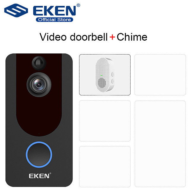 EKEN V7 WIFI Recording / Android System / Built in out Speaker No Screen(output by APP) Handheld 720 Pixel One to Four more video doorphone With 1*Chime