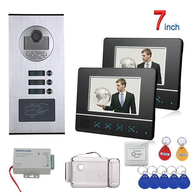 7 inch Touch Button 2 Apartment/Family Video Door Phone Intercom System RFID 1000TVL  Doorbell Camera Electric Strike Lock