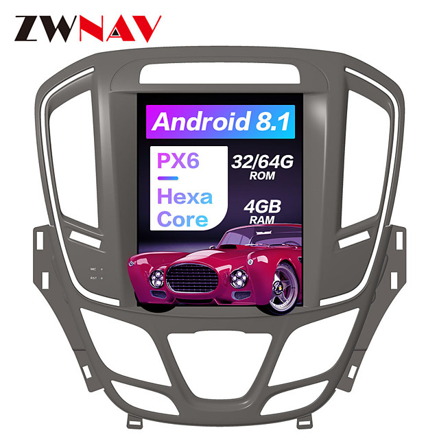 ZWNAV 10.4 inch 1Din Android 8.1 Tesla style 4GB 64GB Car GPS Navigation Car radio tape recorder In-Dash Car DVD Player multimedia player For Buick Regal 2014-2018