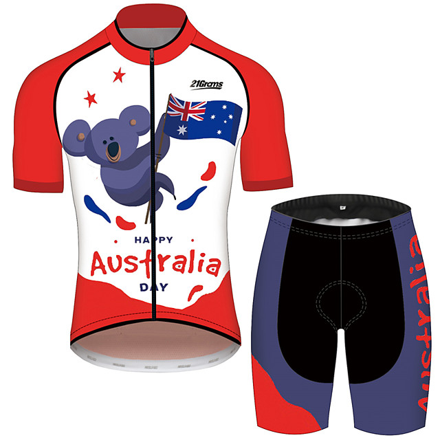 21Grams Men's Short Sleeve Cycling Jersey with Shorts Polyester Spandex Red / White Australia National Flag Bike Clothing Suit Breathable 3D Pad Quick Dry Reflective Strips Sweat-wicking Sports