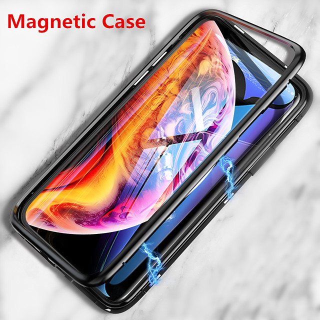 Case For Apple iPhone 11 / iPhone 11 Pro / iPhone 11 Pro Max Magnetic Full Body Cases Solid Colored Tempered Glass / Metal