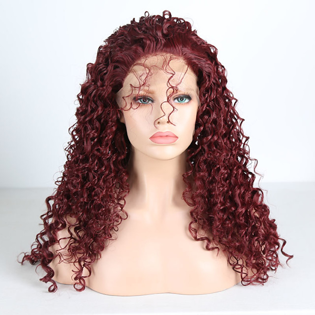 Synthetic Lace Front Wig Curly Free Part Lace Front Wig Burgundy Long Burgundy Synthetic Hair 18-26 inch Women's Cosplay Soft Adjustable Burgundy
