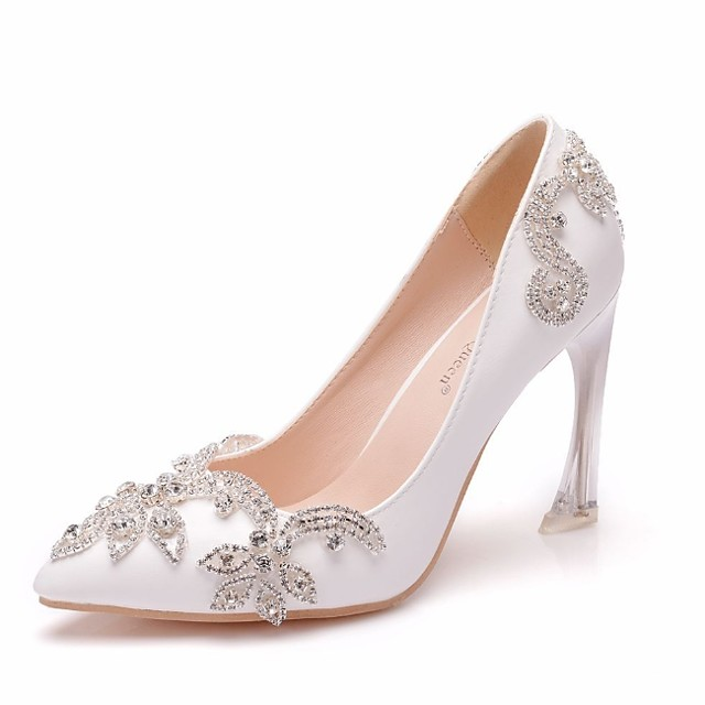 Women's Wedding Shoes Crystal Sandals Stiletto Heel Pointed Toe PU Spring & Summer White