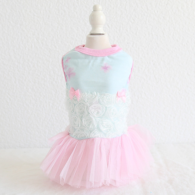Dog Costume Dress Dog Clothes Breathable Blue Pink Wedding Costume Beagle Bichon Frise Chihuahua Cotton Voiles & Sheers Lace Flower Casual / Sporty Cute XS S M L XL