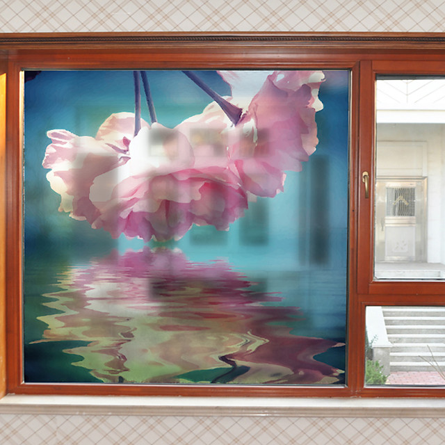 Big Pink Flowers Pattern Matte Window Film Cling Vinyl Thermal-Insulation Privacy Protection Home Decor For Window Cabinet Door Sticker / Window Sticker