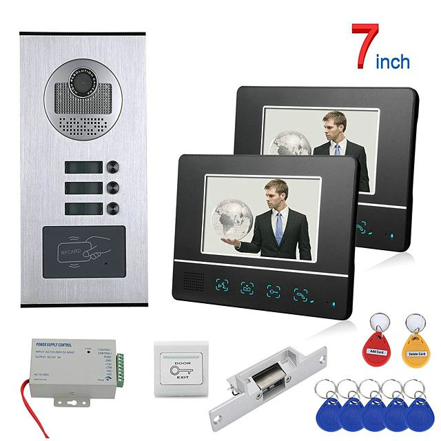 7 inch Touch Button 2 Apartment/Family Video Door Phone Intercom System RFID 1000TVL  Doorbell Camera NO Electric Strike Door Lock