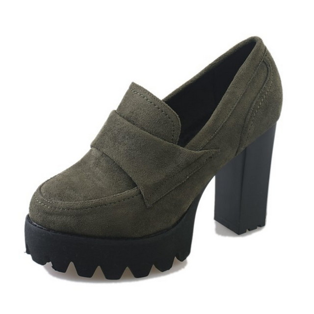 Women's Boots Chunky Heel Round Toe Suede Booties / Ankle Boots Winter Black / Army Green