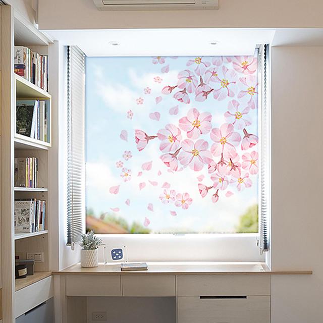 Pink Flowers Pattern Matte Window Film Vinyl Removable Private Home Decor / Door Sticker / Window Sticker
