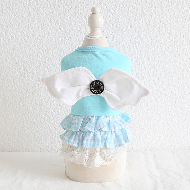 Dog Costume Shirt / T-Shirt Dress Dog Clothes Breathable Blue Birthday Costume Beagle Bichon Frise Chihuahua Cotton Lace Angel Casual / Sporty Cute XS S M L XL
