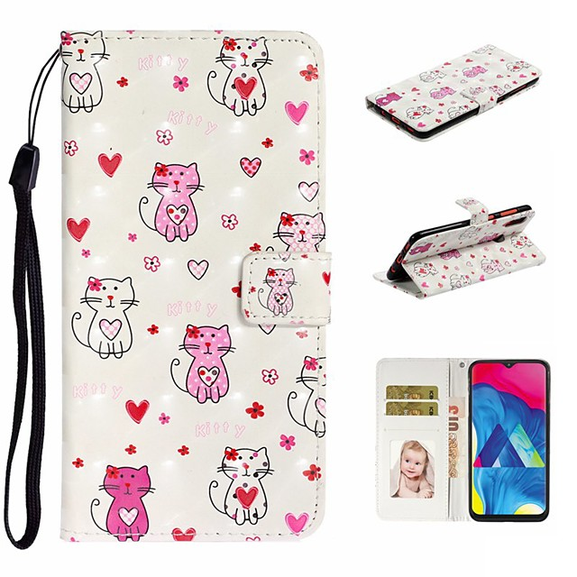 Case For Samsung Galaxy A10/A30/A50 Wallet / Card Holder / with Stand Full Body Cases Cat PU Leather For Galaxy M10/A20/A40/A70/A80/A90/A20E
