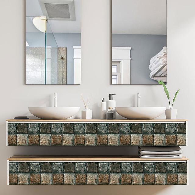 Fun life 10*10cm*18pcs Stone Grain Self-Adhesive Waterproof DIY Wall Art Home Kitchen Bedroom Bathroom kitchen Tile Sticker Wall Sticker
