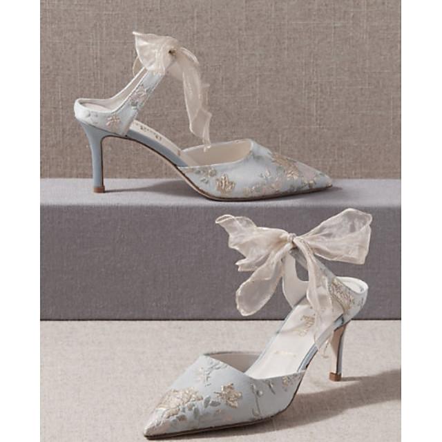 Women's Wedding Shoes Spring & Summer Stiletto Heel Pointed Toe Wedding Canvas Silver