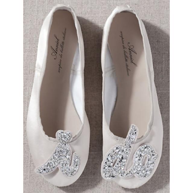 Women's Wedding Shoes Crystal Sandals Flat Heel Round Toe PU Spring & Summer White