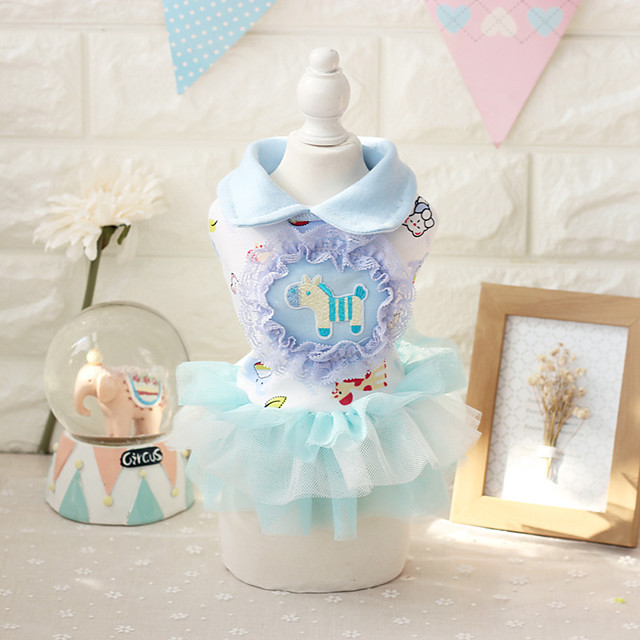 Dog Costume Dress Dog Clothes Breathable Blue Birthday Costume Beagle Bichon Frise Chihuahua Cotton Cartoon Lace Princess Birthday Cute XS S M L XL