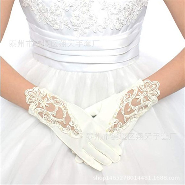Gloves Lace Fingertips Satin For Bride Cosplay Halloween Carnival Women's Girls' Costume Jewelry Fashion Jewelry