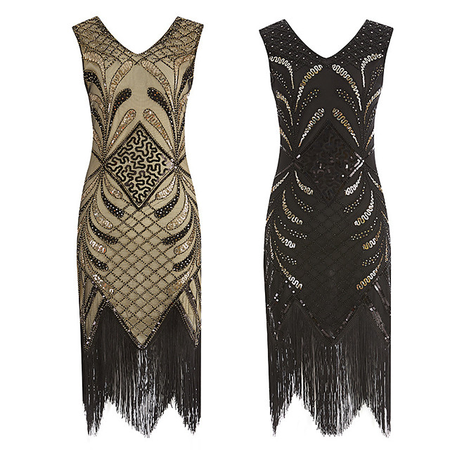 The Great Gatsby Retro Vintage 1920s Summer Flapper Dress Dress Women's Sequins Tassel Fringe Sequin Costume Black / Golden Vintage Cosplay Event / Party Sleeveless Knee Length