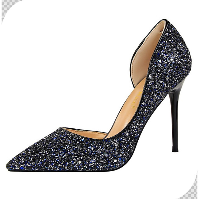 Women's Wedding Shoes Crystal Sandals Stiletto Heel Pointed Toe Synthetics Spring & Summer Blue
