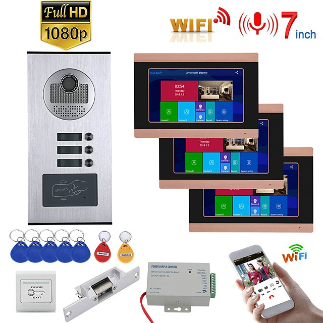 MOUNTAINONE SY709GHIDPENO3 WIFI / Wired & Wireless 7inch Record Wired Wifi Video Intercom 3 Apartments Doorphone System with  RFID 1080P Doorbell Camera NO Electric Strike Door Lock