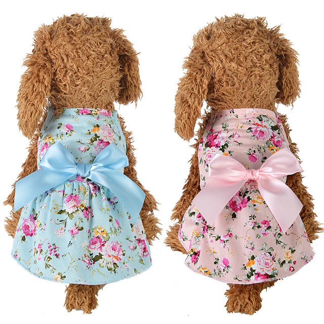 Dog Cat Dress Dog Clothes Blue Pink Costume Husky Labrador Alaskan Malamute Polyester Cotton Bowknot Flower Leisure Sweet XS S M L XL