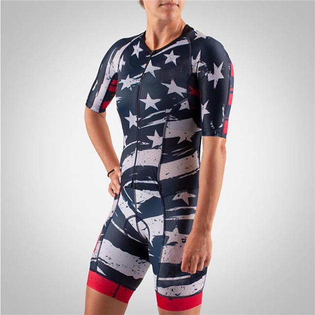 21Grams Men's Women's Short Sleeve Triathlon Tri Suit Polyester Spandex Red+Blue Stars National Flag Bike Clothing Suit UV Resistant Breathable Quick Dry Sweat-wicking Sports Stars Mountain Bike MTB