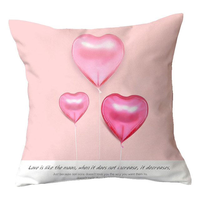 1 pcs Polyester Pillow Cover  Sweet Love Pillow Case Couple Pillow Pillow Case Office Waist Pillow Sofa Cushion Cushion Living Room Back Cover
