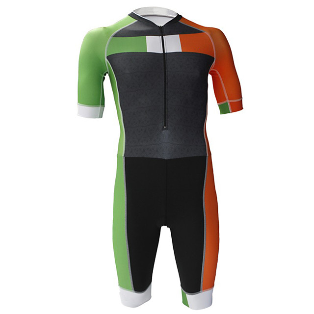21Grams Men's Short Sleeve Triathlon Tri Suit Black / Green Patchwork Bike Clothing Suit UV Resistant Breathable Quick Dry Sweat-wicking Sports Patchwork Mountain Bike MTB Road Bike Cycling Clothing
