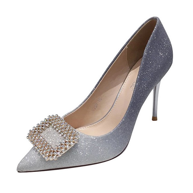 Women's Wedding Shoes Crystal Sandals Stiletto Heel Pointed Toe Microfiber Spring & Summer Gold / Silver