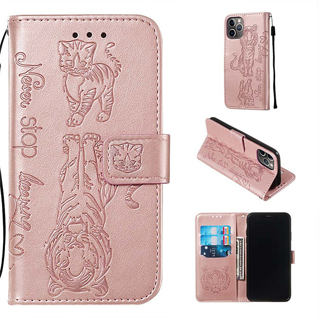 Cat and tiger pattern embossed phone case iPhone 11 Pro Max iPhone XR Xs Max iPhone 7/8/6 / 6sPlus all-inclusive protective case card holder wallet PU leather