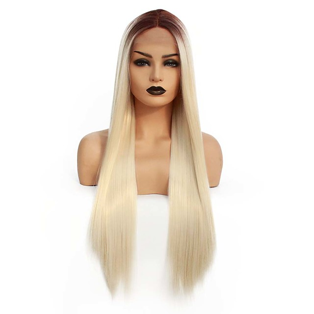 Synthetic Lace Front Wig Straight Gaga Middle Part Lace Front Wig Blonde Ombre Long Ombre Blonde Synthetic Hair 22-26 inch Women's Heat Resistant Women Hot Sale Blonde Ombre / Glueless