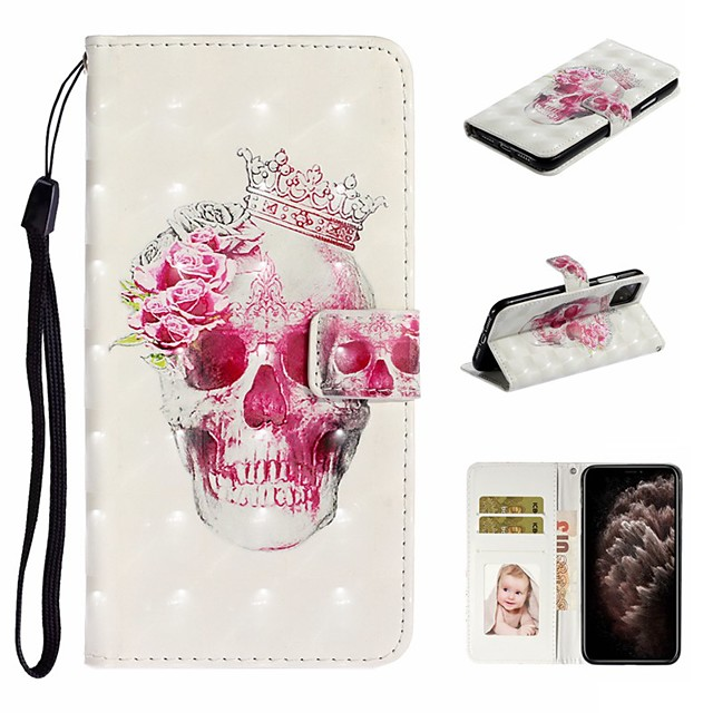 Case For Apple iPhone 11 / iPhone 11 Pro / iPhone 11 Pro Max Wallet / Card Holder / with Stand Full Body Cases Skull PU Leather For iPhone XS Max/XS/XR/X/8 Plus/7/6/6s Plus/5/5S/SE