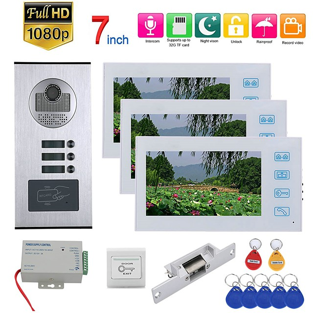 7inch Record Wired Wifi Video Intercom 3 Apartments Doorphone System with  RFID 1080P Doorbell Camera NO Electric Strike Door Lock