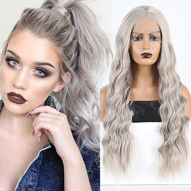 Synthetic Lace Front Wig Wavy Middle Part Lace Front Wig Long Grey Synthetic Hair 18-26 inch Women's Cosplay Soft Adjustable Gray