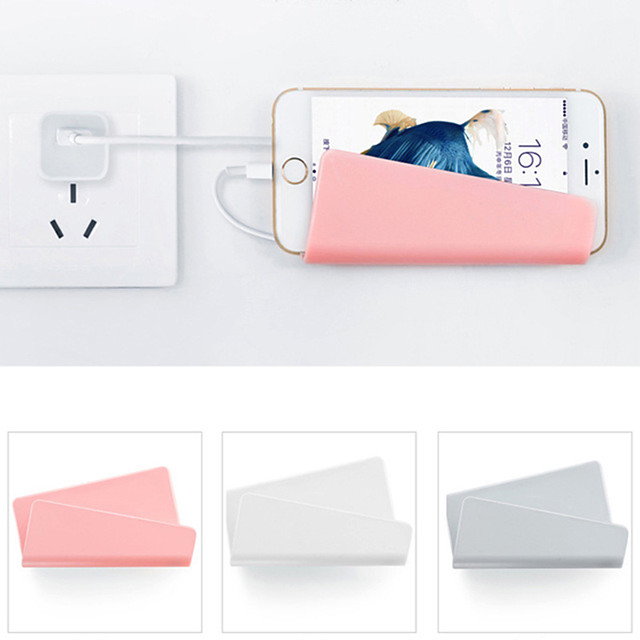 Wall-mounted Mobile Phone Wall Charger Adapter Charging Holder Hanging Stand Bracket Support Charge Hanger Rack Shelf Cell Phone hook