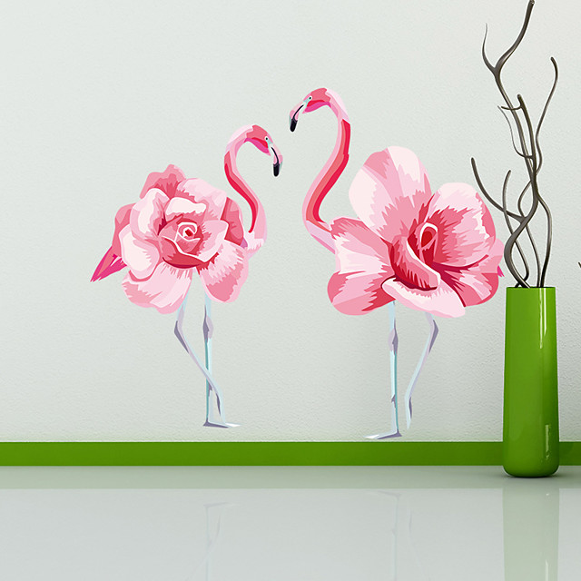 Wall Stickers Interesting Flamingo DIY Removable Vinyl Flowers Vine Mural Decal Art Stikers For Living Room Wall Decoration