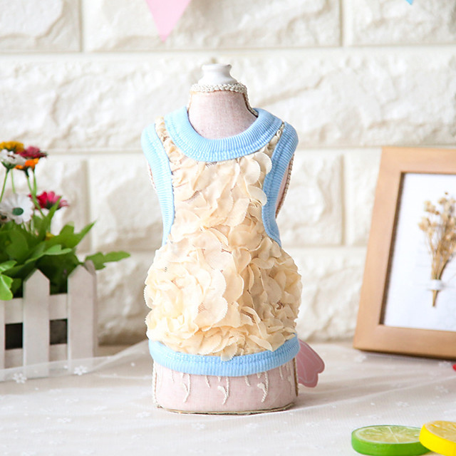 Dog Costume Vest Dog Clothes Breathable Blue Dark Blue Costume Beagle Bichon Frise Chihuahua Cotton Simple Solid Colored Flower Casual / Sporty Cute XS S M L XL