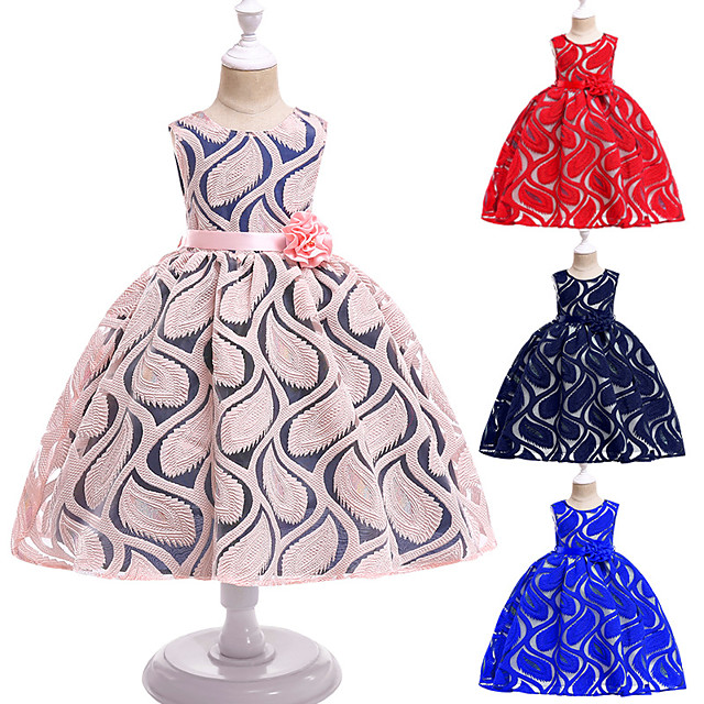 Princess Dress Flower Girl Dress Girls' Movie Cosplay A-Line Slip Cosplay Red / Pink / Ink Blue Dress Halloween Carnival Masquerade Lace Cotton